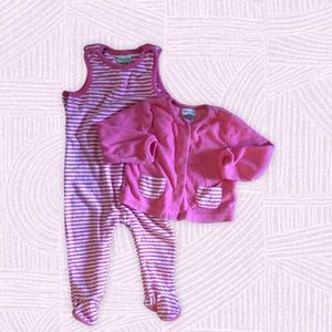 Absorb a baby girl's footed overall set, 6-9mos